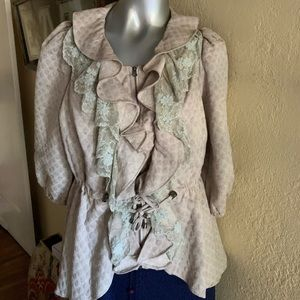 Romantic By Stella Lacey Blouse Tan Green L